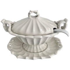 White Soup Tureen Gravy Boat with Ladle and Serving Platter