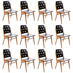 One of 12 Stacking Chairs Franz Schuster, Bicolored Beech Black, Austria, 1959