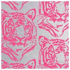 Star Tiger Designer Wallpaper in Color Neon 'Neon Pink on Metallic Silver Mylar'