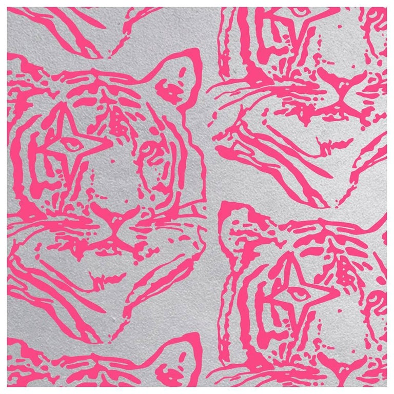 Star Tiger Designer Wallpaper In Color Neon Pink On Metallic Silver Mylar For