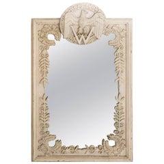 Vintage Wooden Monogrammed Mirror 'W'