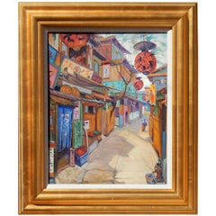 New York National Academy Artist Carl Brandien Painting, 1930, Old Kyoto