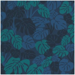 Deliciosa Designer Wallpaper in Moonlight 'Teal, Blue and Navy on Cobalt'
