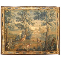 Antique 18th Century Flemish Landscape Verdure Tapestry, with Birds in the Woods