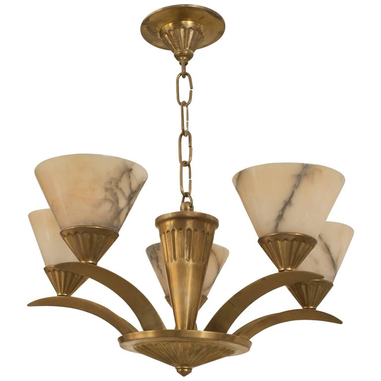 French Art Deco Brass Chandelier, Circa 1925 For Sale