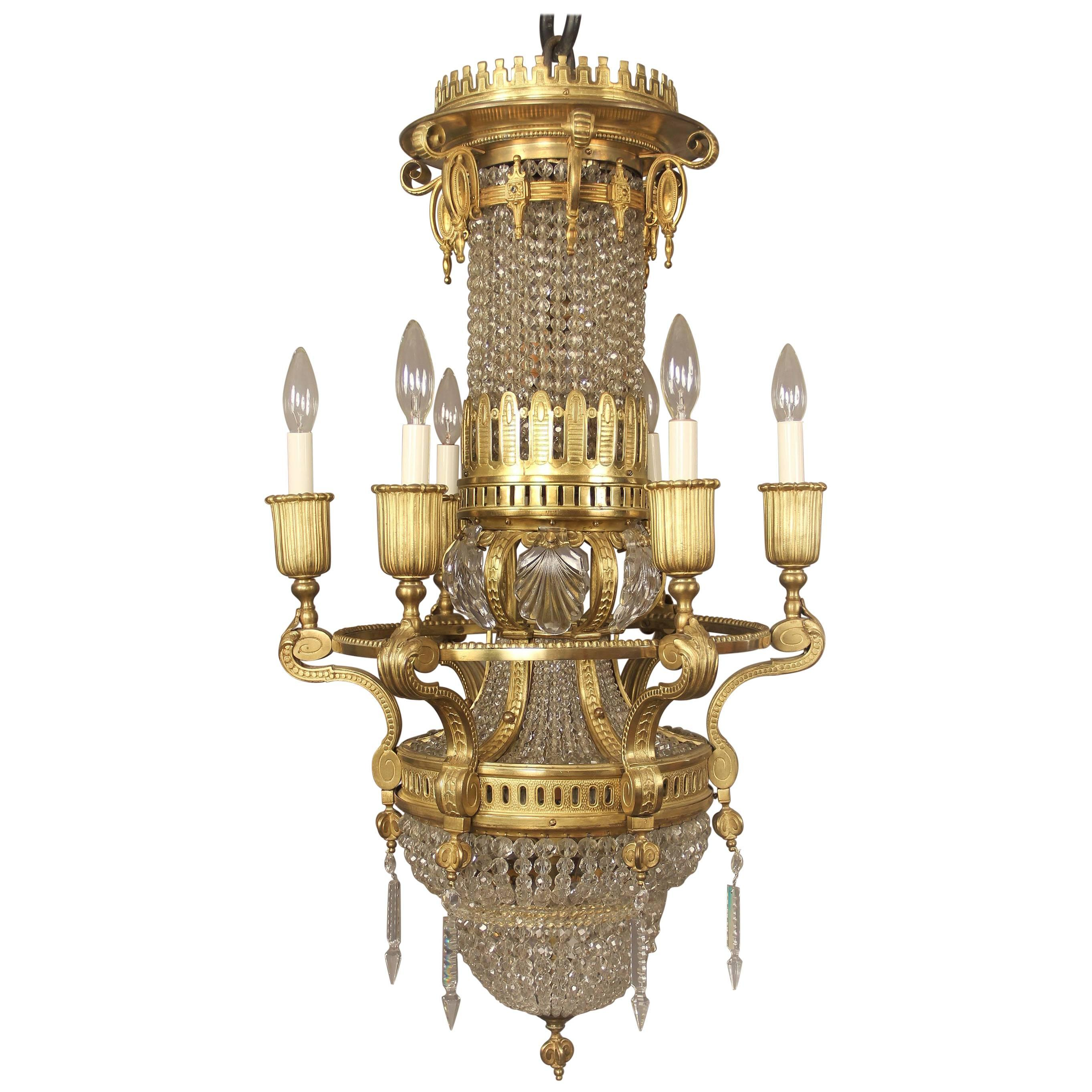 Interesting Late 19th Century Gilt Bronze and Crystal Ten-Light Chandelier