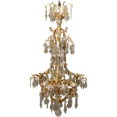 Late 19th-Early 20th Century Gilt Bronze and Baccarat Crystal Chandelier
