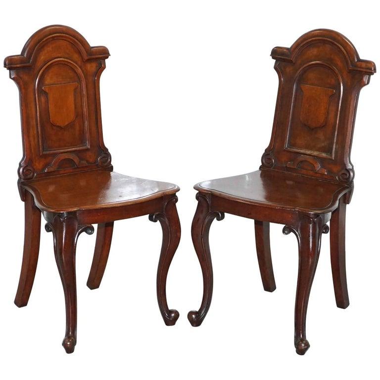Pair of Lovley Regency Mahogany circa 1830 Shield Back Hall Chairs Nice Patina