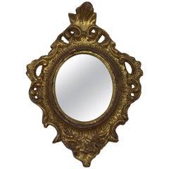 1960s Italian Florentine Oval Gilded Mirror