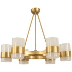 French Gilt Brass Ring Form Chandelier, 1940s