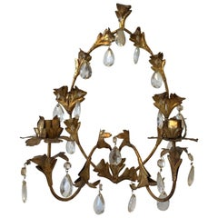 1960s Italian Florentine Gilded and Crystal Candlestick Wall Sconce