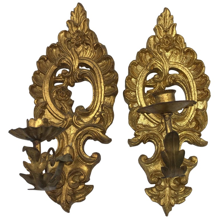 1960s Italian Florentine Gilded Candlestick Wall Sconces, Pair
