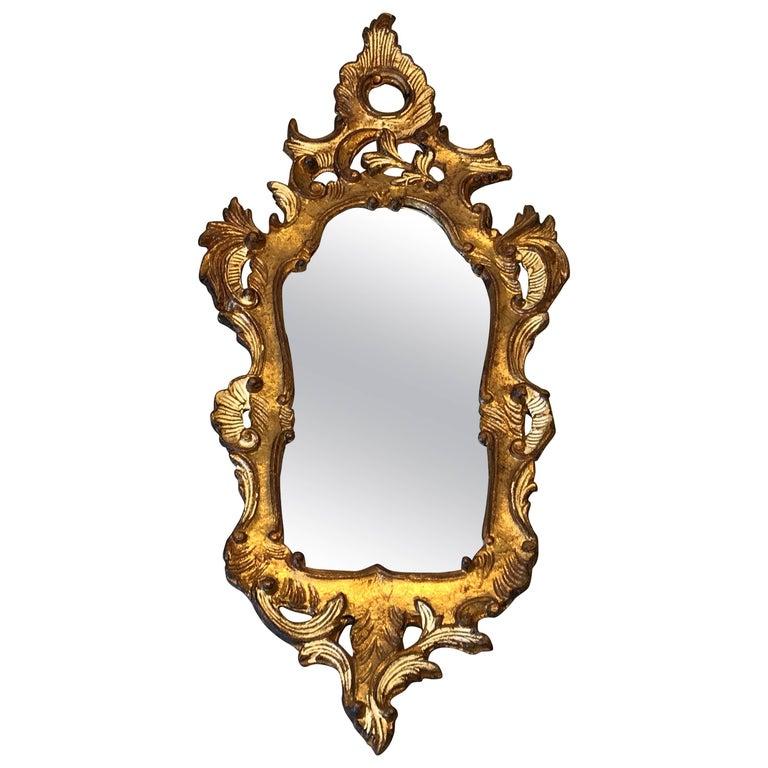 1960s Italian Florentine Gilded Shield-Shaped Mirror