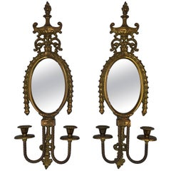 1960s Italian Brass Candlestick Wall Sconces with Mirror, Pair