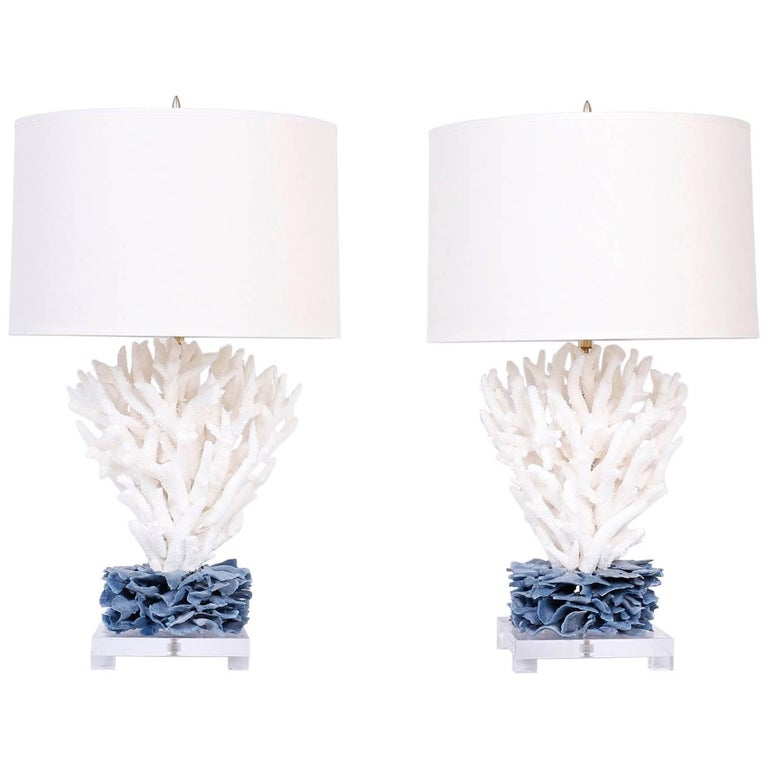 Pair of Coral Table Lamps For Sale