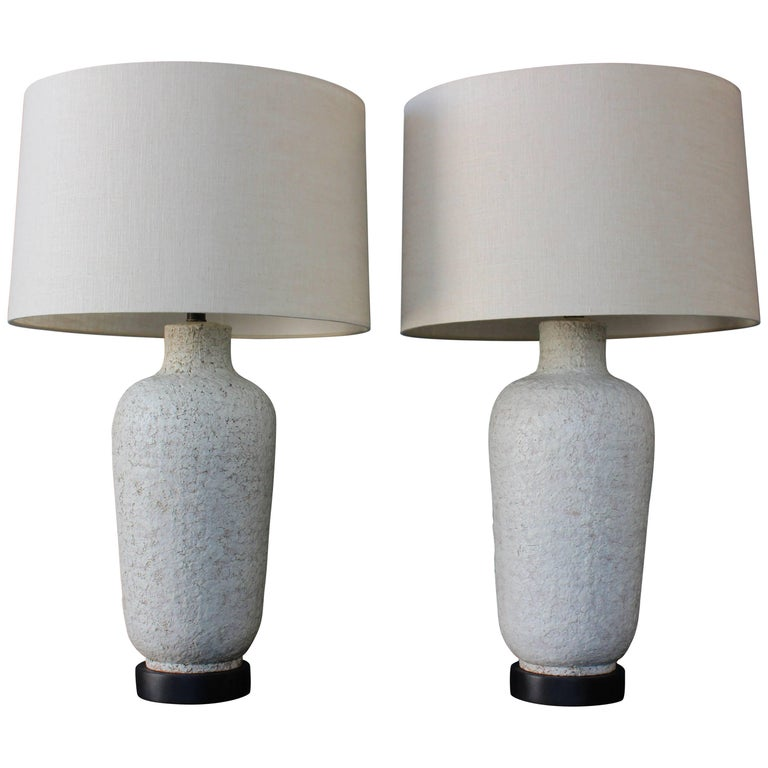 Pair of 1950s Lamps with a Heavy Texture Glaze For Sale