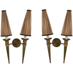 Pair of French, 1940s Brass Two Torch Form Arm Wall Sconces