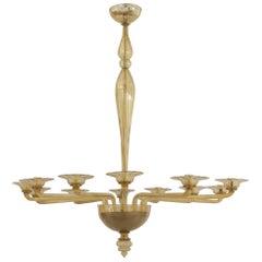 Italian Venetian Murano 1940s Style Modern Oval Shaped Amber Glass Chandelier