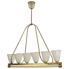 Italian 1940s Chandelier with Fluted & Flared Shades