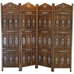 Extraordinary Double Motif Anglo-Indian Privacy Folding Screen in Teak and Bone