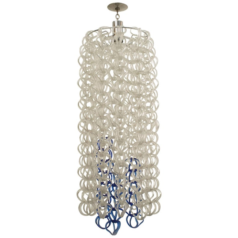 Angelo Mangiarotti Italian Post-War Crystal and Blue Glass Chandelier For Sale