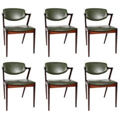 Set of Six Kai Kristiansen Dining Chairs Model 42