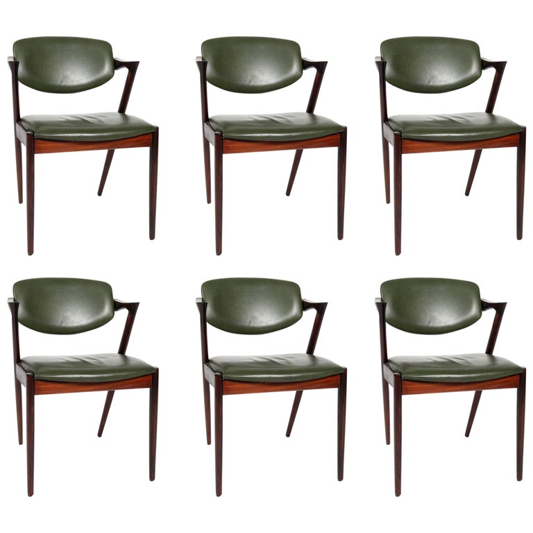 Set of Six Kai Kristiansen Dining Chairs Model 42 For Sale
