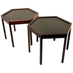Pair of Rosewood & Black Mate Tops Hexagon Cocktail Tables by Hans C Andersen