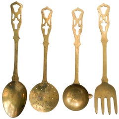 Oversized Brass Culinary Wall Decor, Set of Four