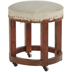 Wooden Stool Upholstered in Linen from Late 19th Century France