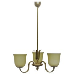 Elegant Art Deco Polished Brass and Opal Glass Chandelier, circa 1930s