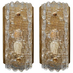 Pair of Brass and Glass Scandinavian Wall Sconces by Carl Fagerlund for Orrefors