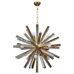 Brass Round Chandelier with Triedre Murano Glass Spikes