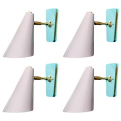 Set of Four Dust Pink and Teal Cone Wall Sconces