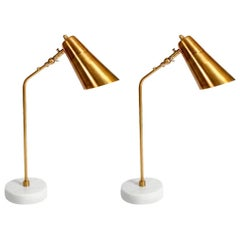 Elegant Desk Lamps with Marble Foot and Coppered Brass Body