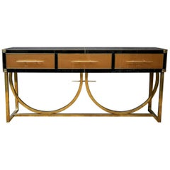 Console Table in Tinted Glass and Brass