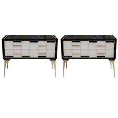 Pair of Commodes with Two Drawers in Teinted Glass and Brass