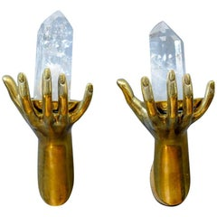 Pair of Brass and Rock Crystal Wall Sculptures