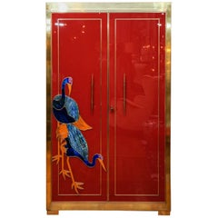 Brass and Colored Glass Cabinet