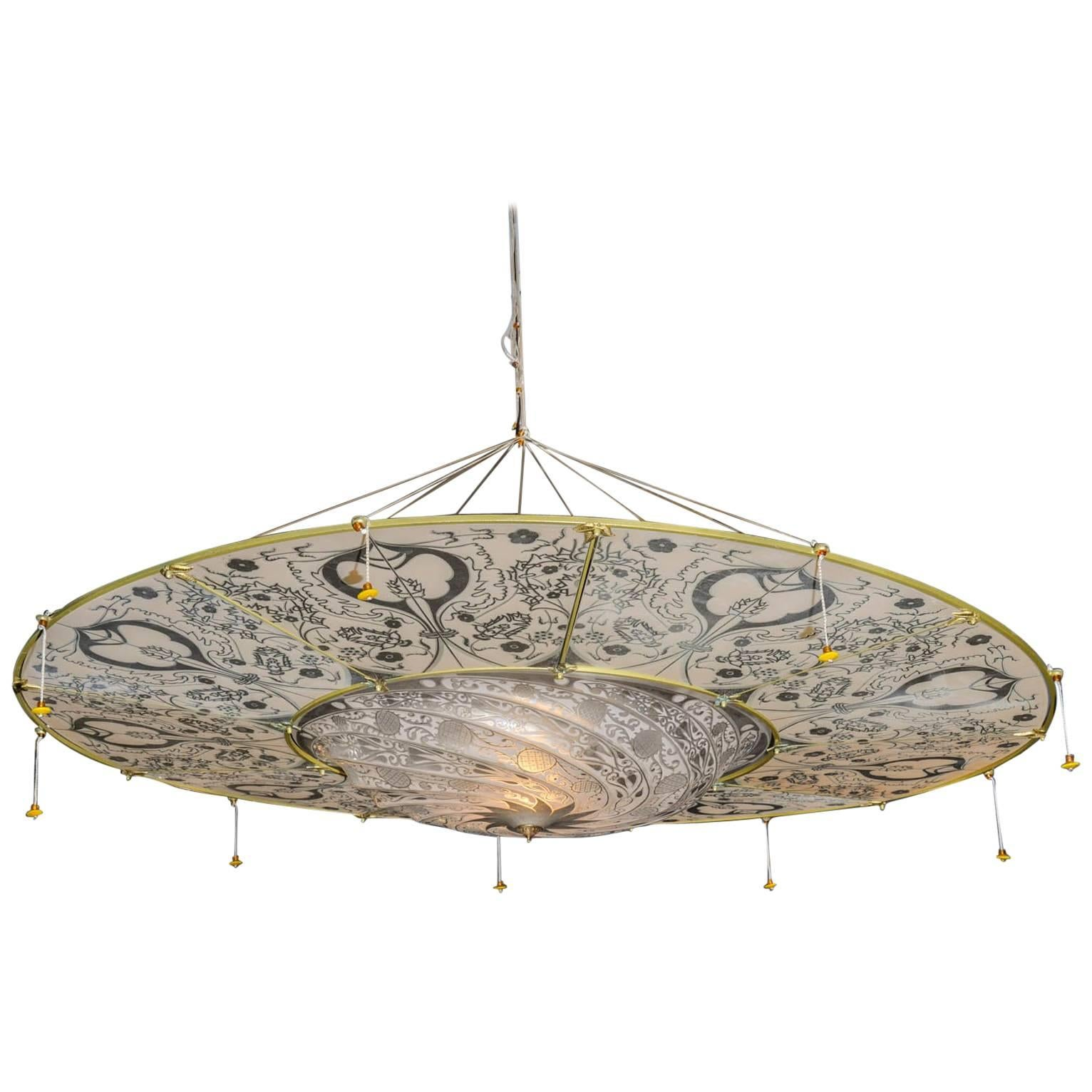 toronto disc silk lamp chandelier replica by fortuny with pendant sophisticated glass lamps