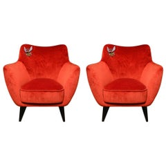 Pair of Orange Velvet Armchairs