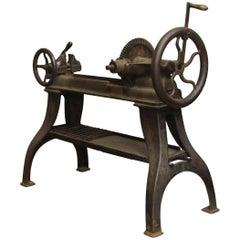 1880s Industrial Lathe on Cast Iron Table Legs