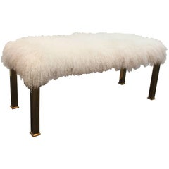 Hollywood Regency Parsons Style Bench in White Curly Lambs Wool and Brass Legs