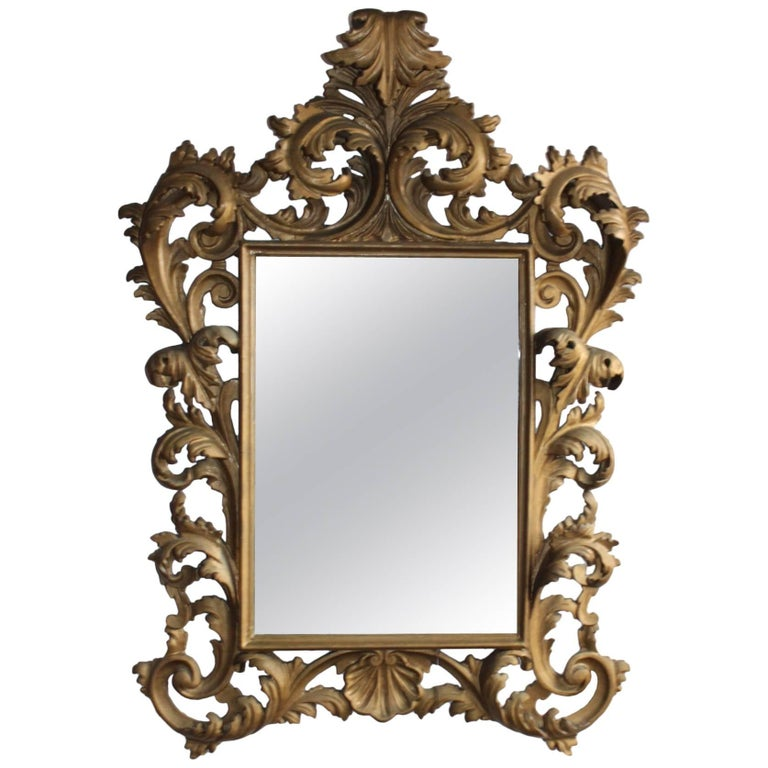 Rococo Italian Mirror with Carved Gold-Toned Frame and Acanthus Leaves