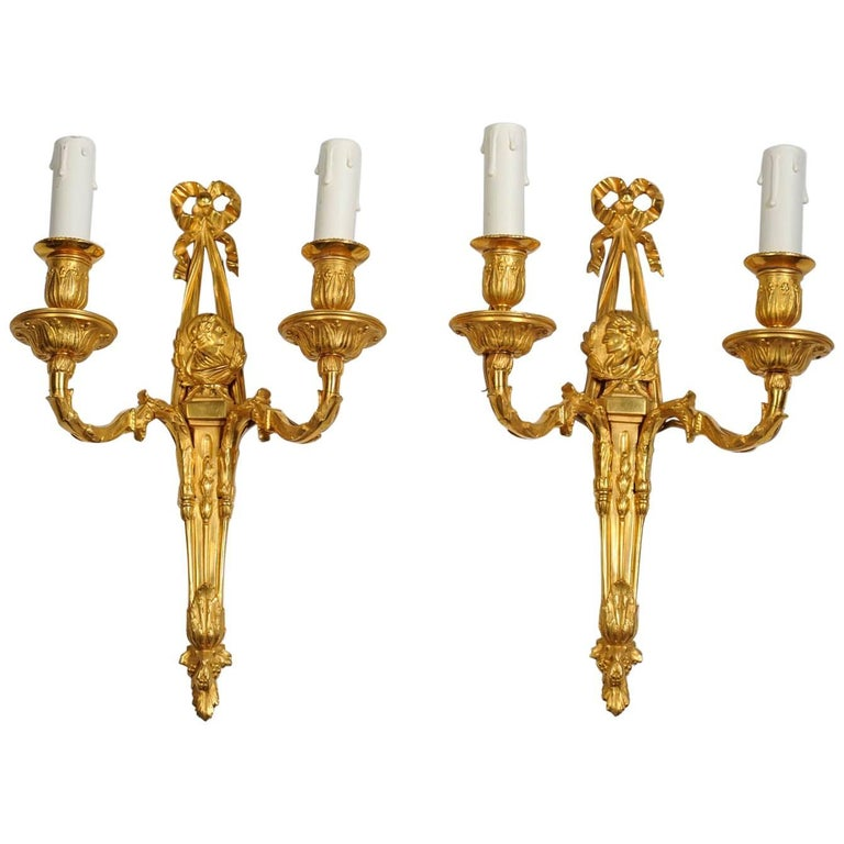 Pair of Gilded Bronze Sconces in the Louis XVI Style