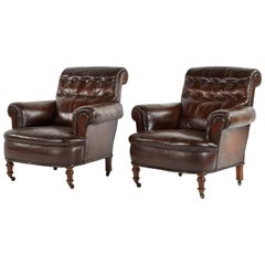 1880s French Pair of Leather Tufted Chairs