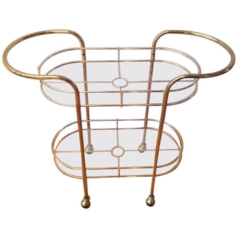 Mid-Century Modern Brass Bar Cart