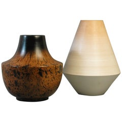 Two Modern Turned Wood Vases Thailand, 20th Century