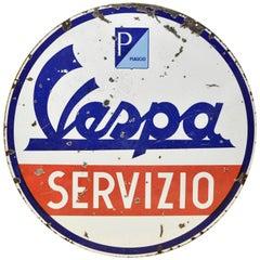 1950s Double-Sided Italian Enamel Vespa Piaggio Servizio Sign