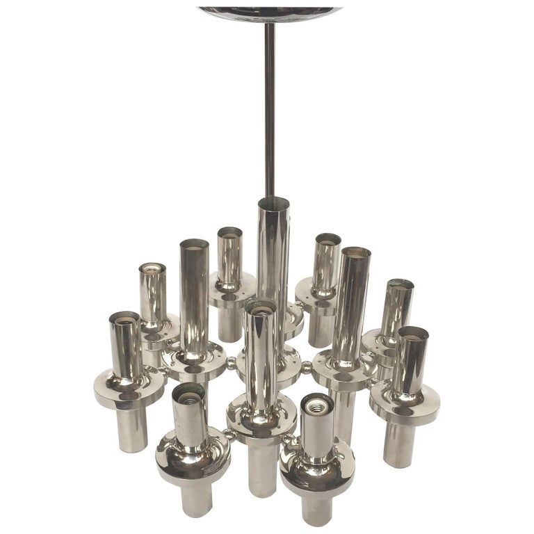 1960s Italian Chrome Chandelier by Gaetano Sciolari